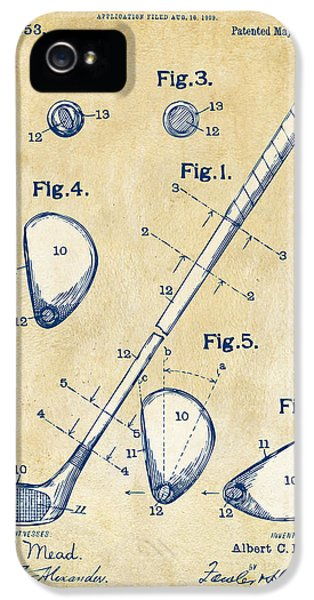 Play iPhone 5 Cases - Vintage 1910 Golf Club Patent Artwork iPhone 5 Case by Nikki Marie Smith