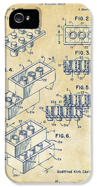 Engineer iPhone 5 Cases - Vintage 1961 Toy Building Brick Patent Art iPhone 5 Case by Nikki Marie Smith