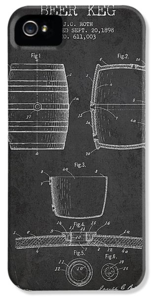 Vintage Beer Keg Patent Drawing From 1898 - Dark IPhone 5 / 5s Case by Aged Pixel