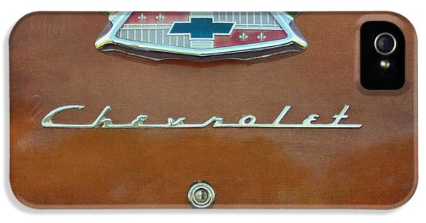Burnt Umber iPhone 5 Cases - Vintage Chevrolet Emblem On Trunk iPhone 5 Case by Cat Whipple