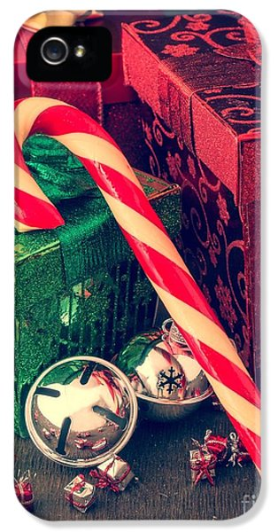 Cane iPhone 5 Cases - Vintage Christmas Candy Cane iPhone 5 Case by Edward Fielding