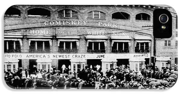 Historical iPhone 5 Cases - Vintage Comiskey Park - Historical Chicago White Sox Black White Picture iPhone 5 Case by Horsch Gallery