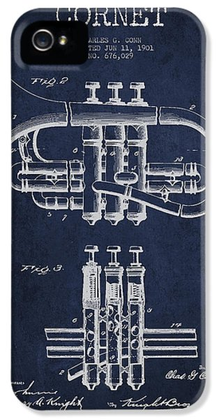 Cornet Patent Drawing From 1901 - Blue IPhone 5 / 5s Case by Aged Pixel