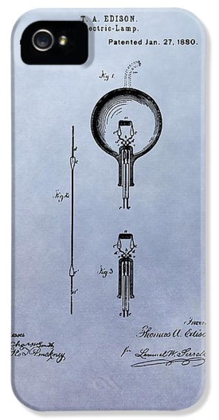 Electric Lamp (electric Light) iPhone 5 Cases - Vintage Electric Lamp Patent Thomas Edison iPhone 5 Case by Dan Sproul