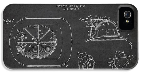 Vintage Firefighter Helmet Patent Drawing From 1932 IPhone 5 / 5s Case by Aged Pixel