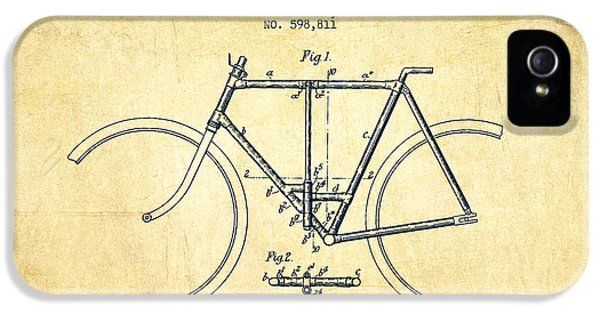 Bicycle iPhone 5 Cases - Vintage Folding Bicycle patent from 1898 - Vintage iPhone 5 Case by Aged Pixel