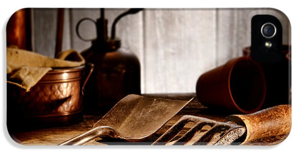 Potting Shed iPhone 5 Cases - Vintage Gardening Tools iPhone 5 Case by Olivier Le Queinec