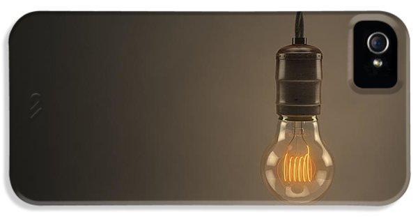 Filament (lightbulb) iPhone 5 Cases - Vintage Hanging Light Bulb iPhone 5 Case by Scott Norris