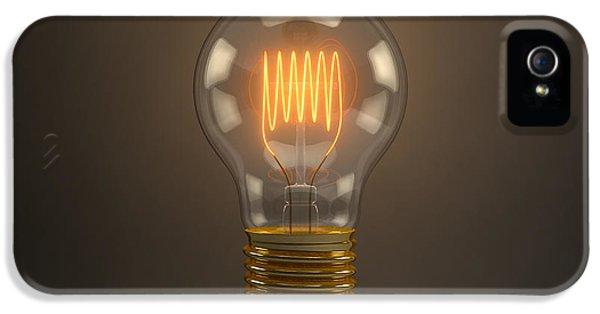 Filament (lightbulb) iPhone 5 Cases - Vintage Light Bulb iPhone 5 Case by Scott Norris