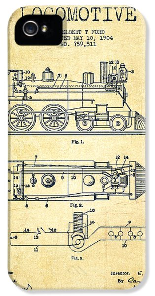 Vintage Locomotive Patent From 1904 - Vintage IPhone 5 / 5s Case by Aged Pixel