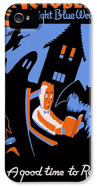 Haunted Houses iPhone 5 Cases - Vintage Poster - Reading - October iPhone 5 Case by Benjamin Yeager