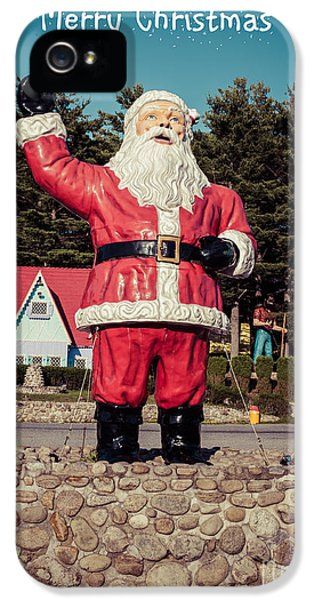 Blank iPhone 5 Cases - Vintage Santa Claus Christmas Card iPhone 5 Case by Vintage Photograph