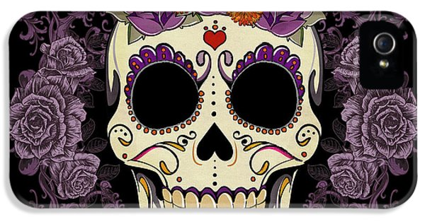 Mexican iPhone 5 Cases - Vintage Sugar Skull and Roses iPhone 5 Case by Tammy Wetzel