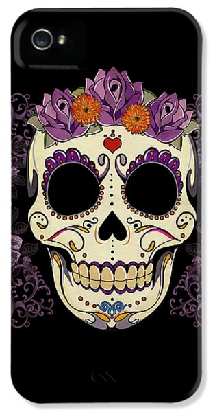 Halloween iPhone 5 Cases - Vintage Sugar Skull and Roses iPhone 5 Case by Tammy Wetzel