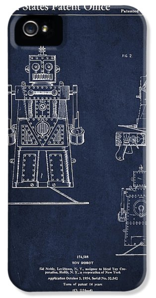 Robot iPhone 5 Cases - Vintage Toy Robot Patent Drawing from 1955 iPhone 5 Case by Aged Pixel