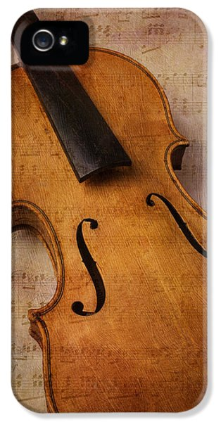 Acoustically iPhone 5 Cases - Violin Abstract iPhone 5 Case by Garry Gay