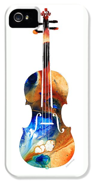 Music iPhone 5 Cases - Violin Art by Sharon Cummings iPhone 5 Case by Sharon Cummings
