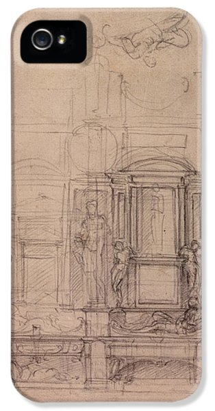 Classical iPhone 5 Cases - W.26r Design For The Medici Chapel In The Church Of San Lorenzo, Florence Charcoal iPhone 5 Case by Michelangelo Buonarroti