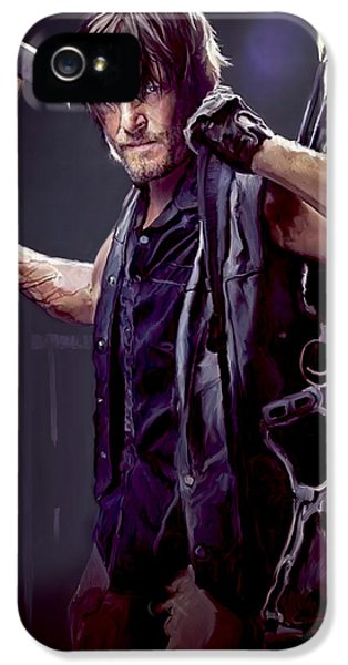 Actor iPhone 5 Cases - Walking Dead - Daryl Dixon iPhone 5 Case by Paul Tagliamonte