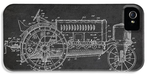 Tractor iPhone 5 Cases - Wallis Tractor Patent drawing from 1916 - Dark iPhone 5 Case by Aged Pixel