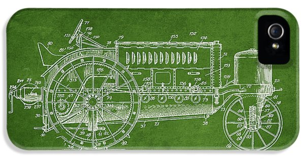 Tractor iPhone 5 Cases - Wallis Tractor Patent drawing from 1916 - Green iPhone 5 Case by Aged Pixel