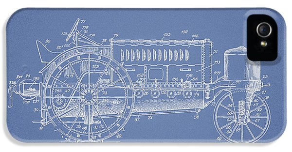 Tractor iPhone 5 Cases - Wallis Tractor Patent drawing from 1916 - Light Blue iPhone 5 Case by Aged Pixel