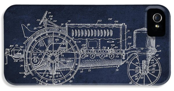 Tractor iPhone 5 Cases - Wallis Tractor Patent drawing from 1916 - Navy Blue iPhone 5 Case by Aged Pixel