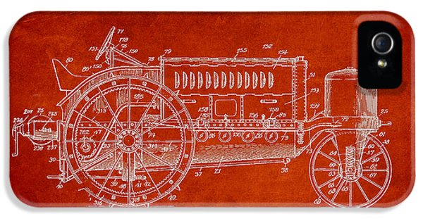 Tractor iPhone 5 Cases - Wallis Tractor Patent drawing from 1916 - Red iPhone 5 Case by Aged Pixel