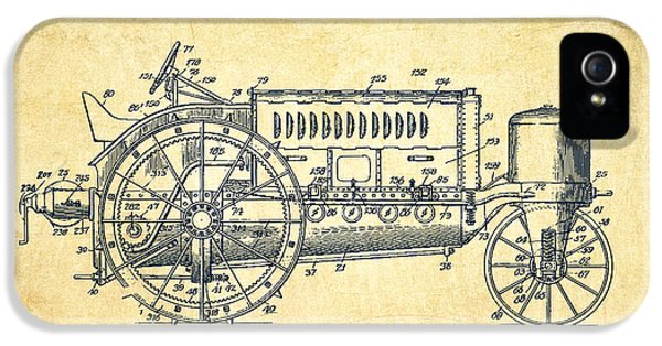 Tractor iPhone 5 Cases - Wallis Tractor Patent drawing from 1916 - Vintage iPhone 5 Case by Aged Pixel