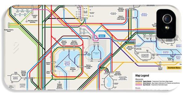 Map iPhone 5 Cases - Walt Disney World Resort Transportation Map iPhone 5 Case by Arthur De Wolf