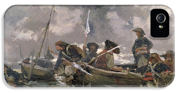 Ashore iPhone 5 Cases - War scene at sea iPhone 5 Case by Paul Emile Boutigny