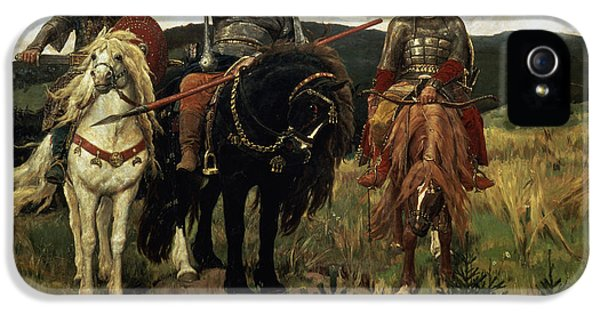 Suit iPhone 5 Cases - Warrior Knights, 1881-98 Oil On Canvas iPhone 5 Case by Victor Mikhailovich Vasnetsov