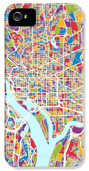 District Columbia iPhone 5 Cases - Washington DC Street Map iPhone 5 Case by Michael Tompsett