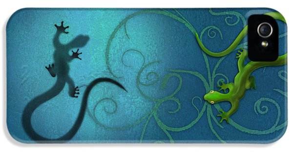 water colour print of twin geckos and swirls Duality IPhone 5 / 5s Case by Sassan Filsoof