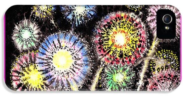 Firework iPhone 5 Cases - Watercolorful Fireworks iPhone 5 Case by Irina Sztukowski