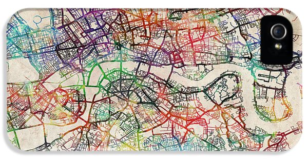 Capital iPhone 5 Cases - Watercolour Map of London iPhone 5 Case by Michael Tompsett