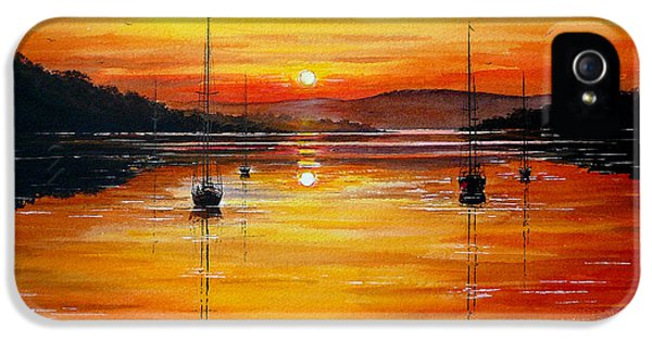 Sillouette iPhone 5 Cases - Watery Sunset at Bala lake iPhone 5 Case by Andrew Read
