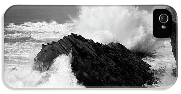 Shore Acres iPhone 5 Cases - Wave at Shore Acres BW iPhone 5 Case by Bob Christopher