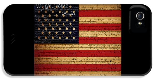 Us Constitution iPhone 5 Cases - We The People - The US Constitution with Flag - square black border iPhone 5 Case by Wingsdomain Art and Photography