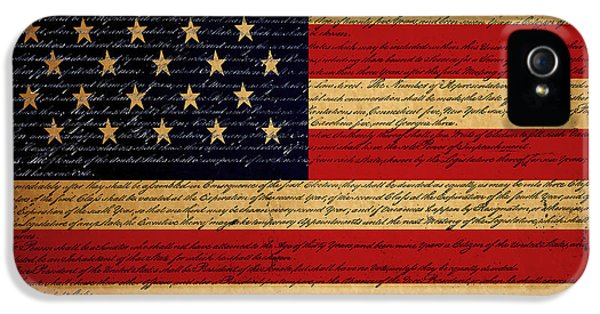 Us Constitution iPhone 5 Cases - We The People - The US Constitution with Flag - square v2 iPhone 5 Case by Wingsdomain Art and Photography