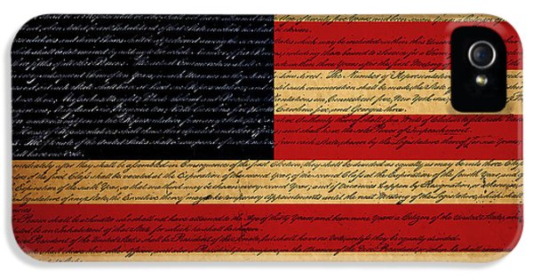 Us Constitution iPhone 5 Cases - We The People - The US Constitution with Flag - square iPhone 5 Case by Wingsdomain Art and Photography