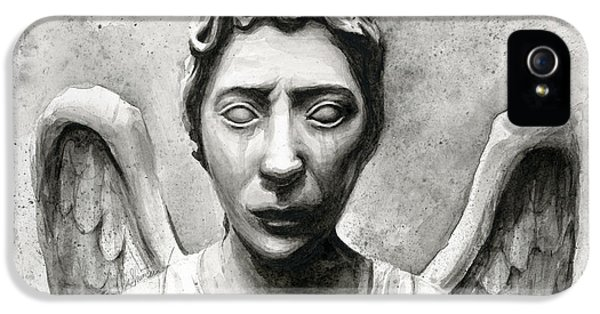 Sci Fi Art iPhone 5 Cases - Weeping Angel Dont Blink Doctor Who Fan Art iPhone 5 Case by Olga Shvartsur