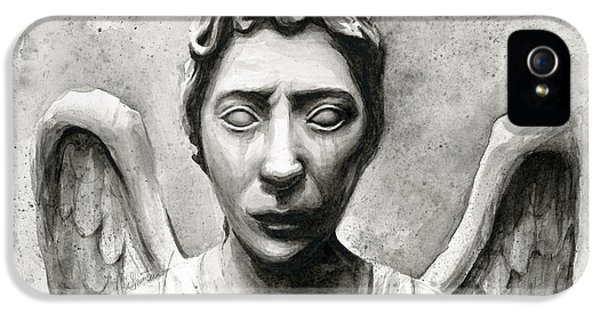 Science Fiction iPhone 5 Cases - Weeping Angel Dont Blink Doctor Who Fan Art iPhone 5 Case by Olga Shvartsur