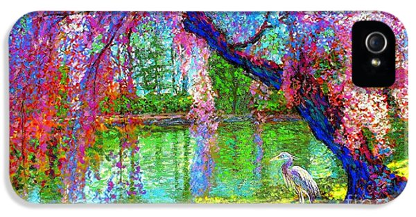 Weeping Beauty, Cherry Blossom Tree And Heron IPhone 5 / 5s Case by Jane Small