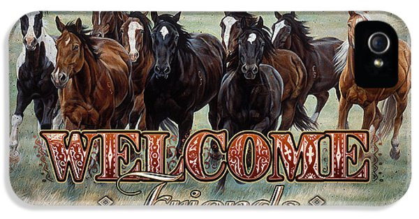 Michelle iPhone 5 Cases - Welcome Friends Horses iPhone 5 Case by JQ Licensing