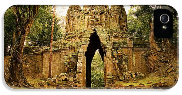 Gate iPhone 5 Cases - West Gate to Angkor Thom iPhone 5 Case by Artur Bogacki