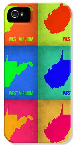 West iPhone 5 Cases - West Virginia Pop Art Map 1 iPhone 5 Case by Naxart Studio