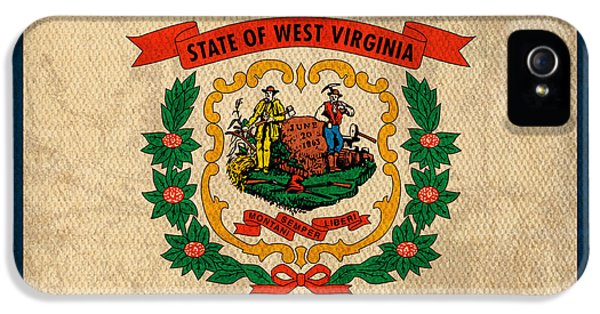 West iPhone 5 Cases - West Virginia State Flag Art on Worn Canvas iPhone 5 Case by Design Turnpike