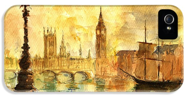 Westminster Palace London Thames IPhone 5 / 5s Case by Juan  Bosco