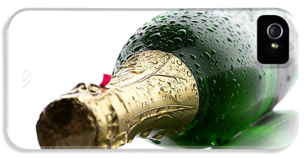Water Drop iPhone 5 Cases - Wet Champagne bottle iPhone 5 Case by Johan Swanepoel